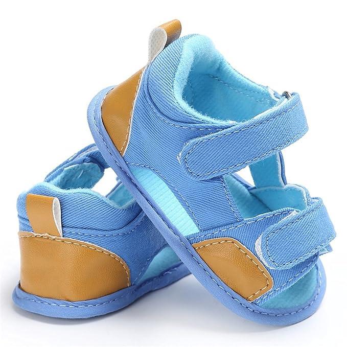 zhouba verano para beb/é Baby Boy Denim Gamuza Sandalias antideslizante suave /única prewalker azul claro Talla:0-6M