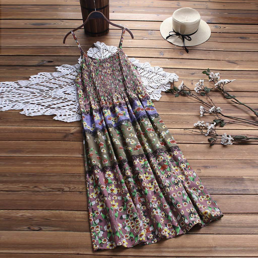 Sommerkleid ohne /ärmel knielang Strandkleid Elegant Partykleid cocktailkleid Spitze Druck A-Linie Kleider