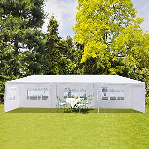 Henf Outdoor Wedding Party Tent,10×30 Outdoor Canopy Tent Portable Waterproof Heavy Duty Gazebo Tent,Sun Snow Rain Shelter Gazebo Canopy Tent 5 Sides