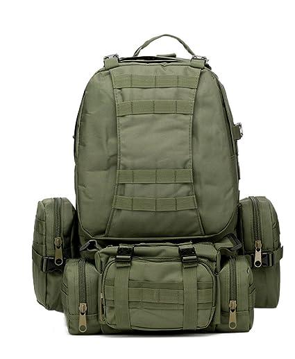 Extra Grande MOLLE Mochila de viaje Senderismo Outdoor bolsas, color - verde, tamaño talla