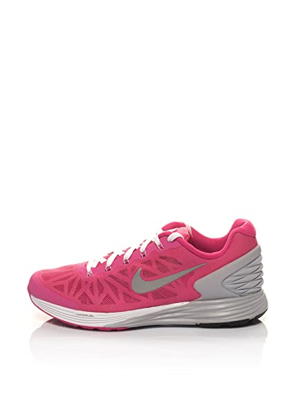 Nike Lunarglide 6 Girls Running Shoes - Pink/Grey - UK3