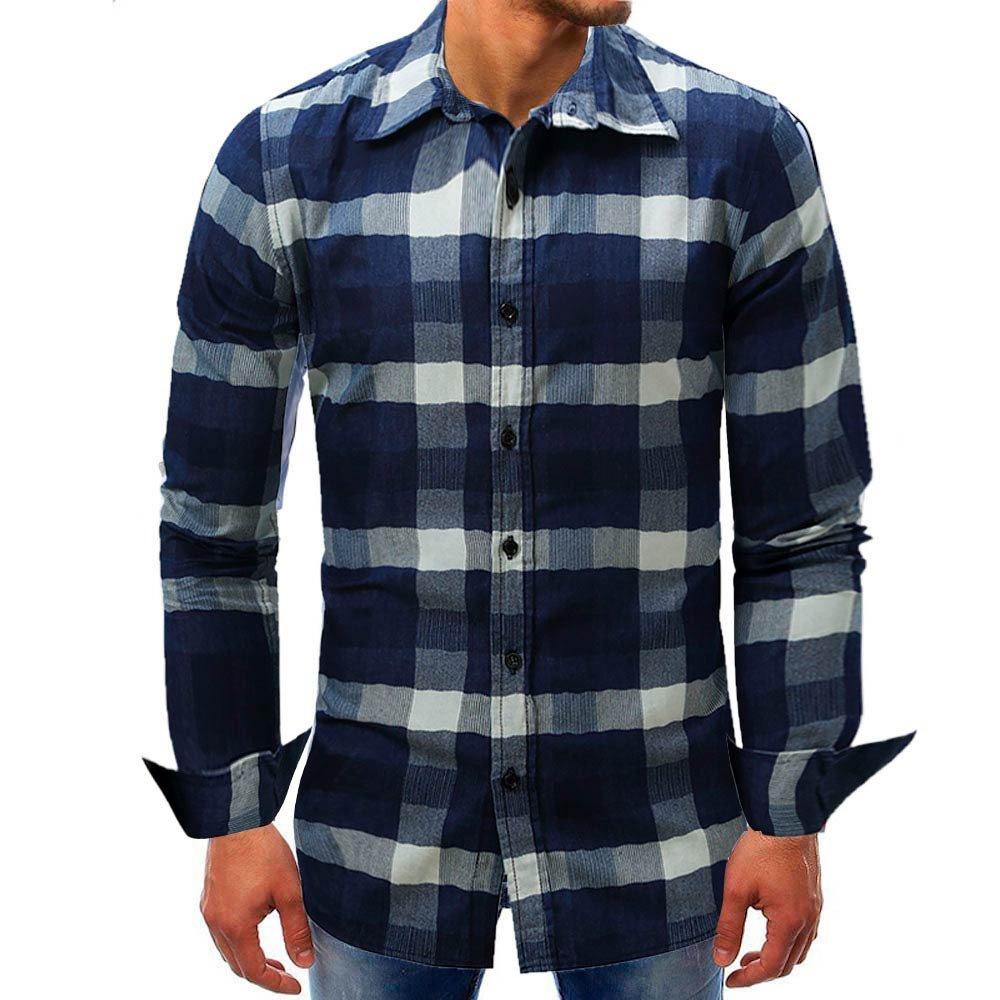 Mose Plaid Shirt for Men Fashion Men Lattice Denim Long-Sleeve Beefy Button Basic Solid Blouse Tee Shirt Top (Dark Blue, 3XL)