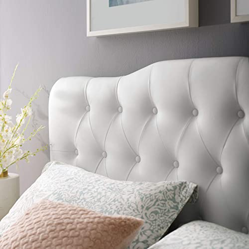 Modway Annabel Tufted Button Faux Leather Upholstered King Headboard in White