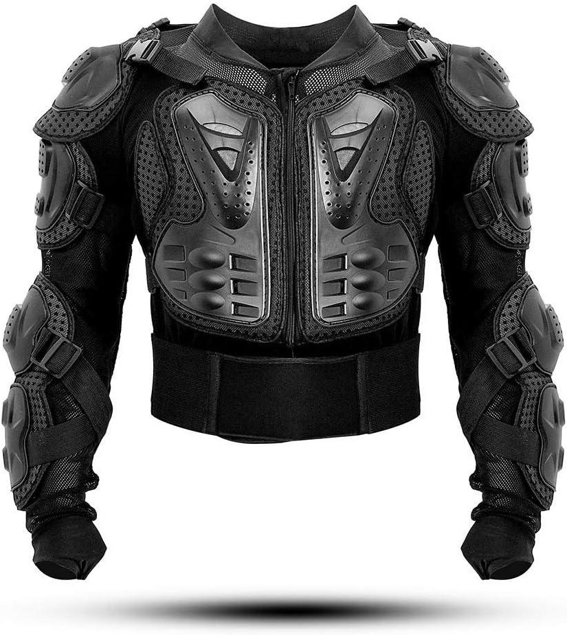 KINGUARD Chaqueta de Moto Chaqueta Protectora Cuerpo Armadura Profesional de Motocicleta Protección del Cuerpo Entero Spine Chest para Hombres Mujeres (Negro, XL)