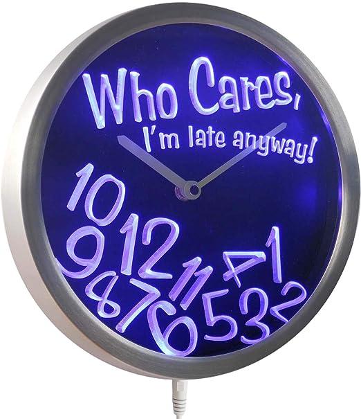 Wall Clock Custom Name youre late anyway Purple Whatever
