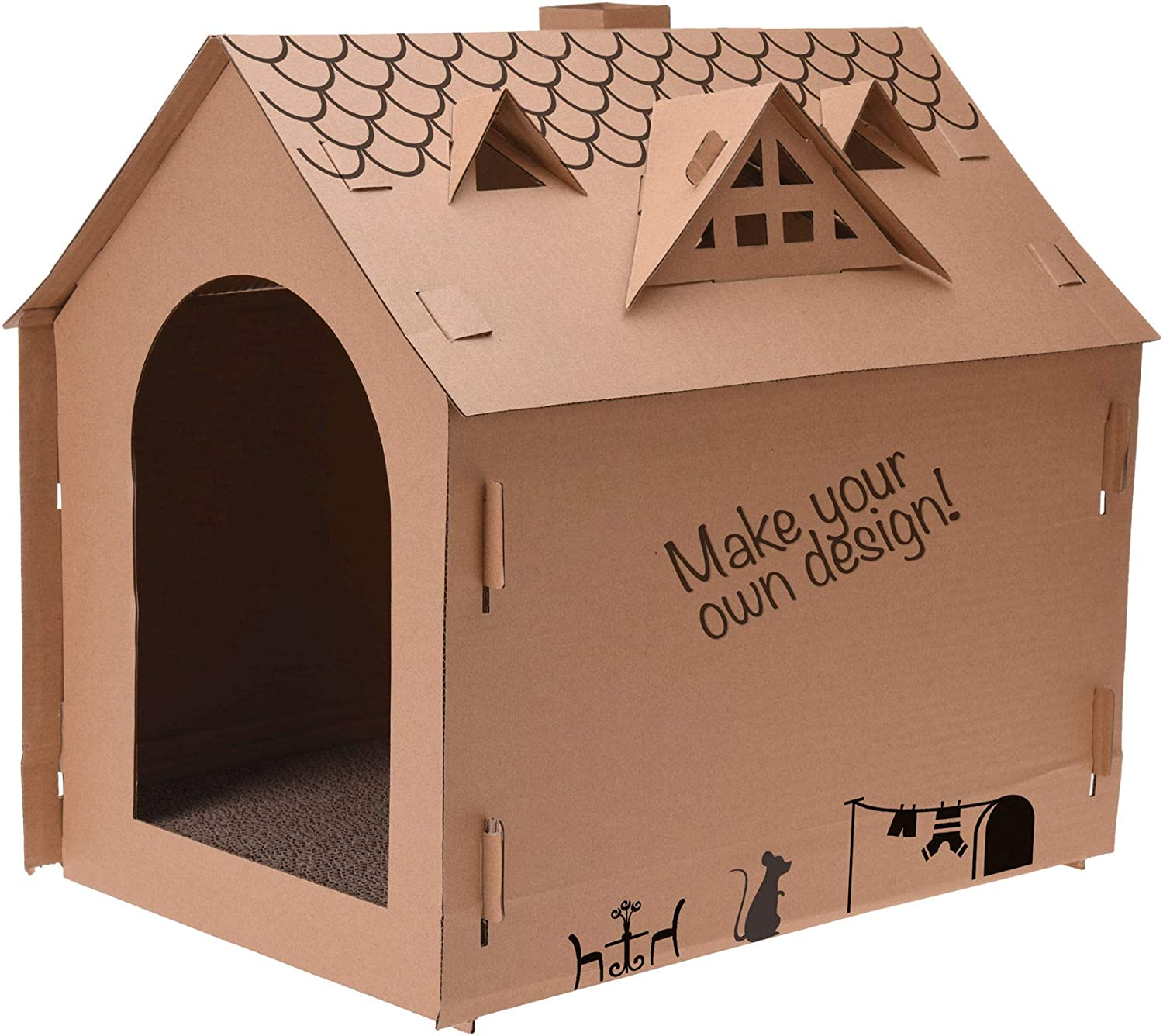 Spetebo Corrugated Cardboard Cat House 48 X 44 X 36 Cm Diy Cat House To Design Yourself Cat Cave Cat House Amazon De Pet Supplies