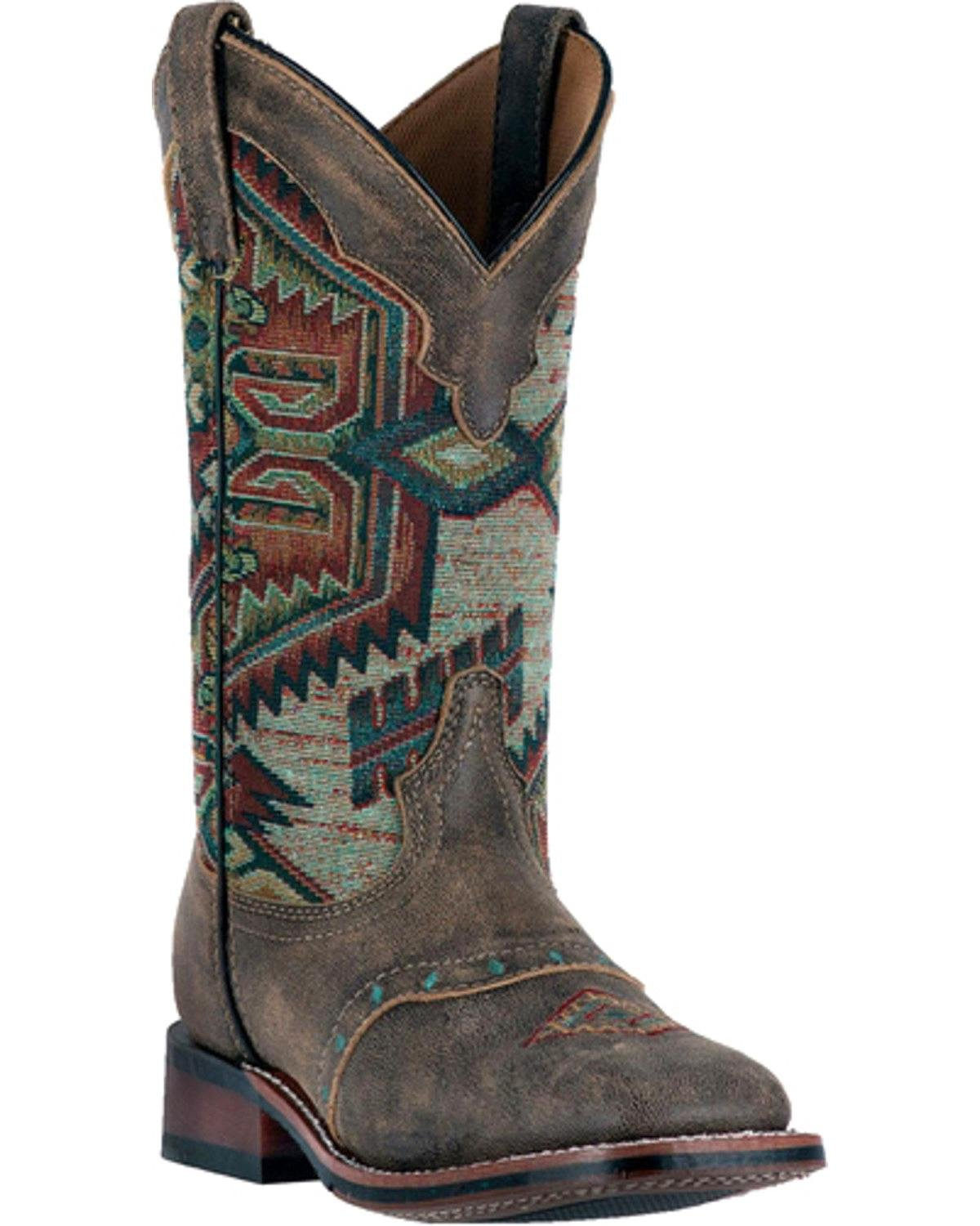 Laredo Women's Taupe With Aztec Top Boot Square Toe Taupe 9 M