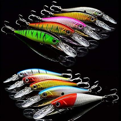 10pcs Fishing Lures US Useful Crankbaits Hook Minnow Tackle Crank Fishing Kit