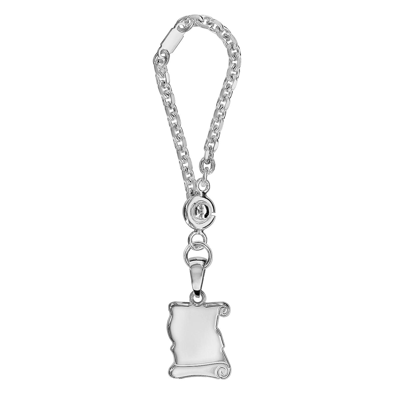 Medium Pergamino llavero plata de ley 925 – Individual Gestalt Bar: grabado gratuito