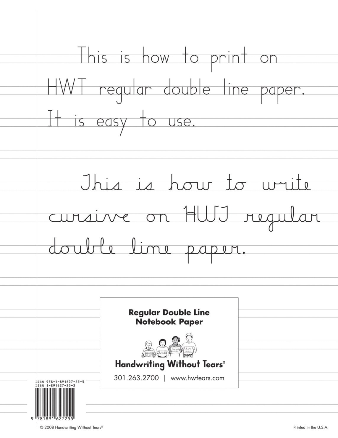 Amazon.com: Handwriting Without Tears Double Lined Notebook Paper, 100  Sheets: Everything Else  Printing On Lined Paper