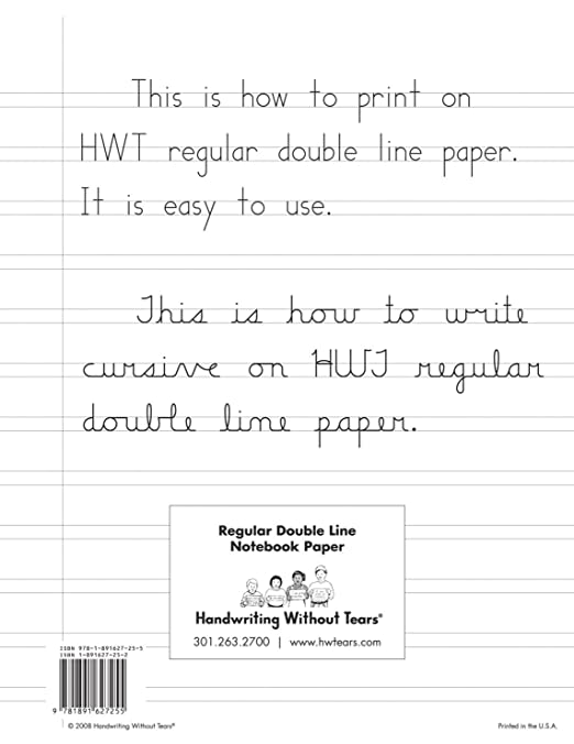 Amazon.com: Handwriting Without Tears Double Lined Notebook Paper, 100  Sheets: Everything Else For Double Lined Paper