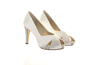 9d0a700d07b Rainbow Club Wedding Shoes Safia Extra Wide Fit Ivory and Silver Shimmer  (UK 6.5 (
