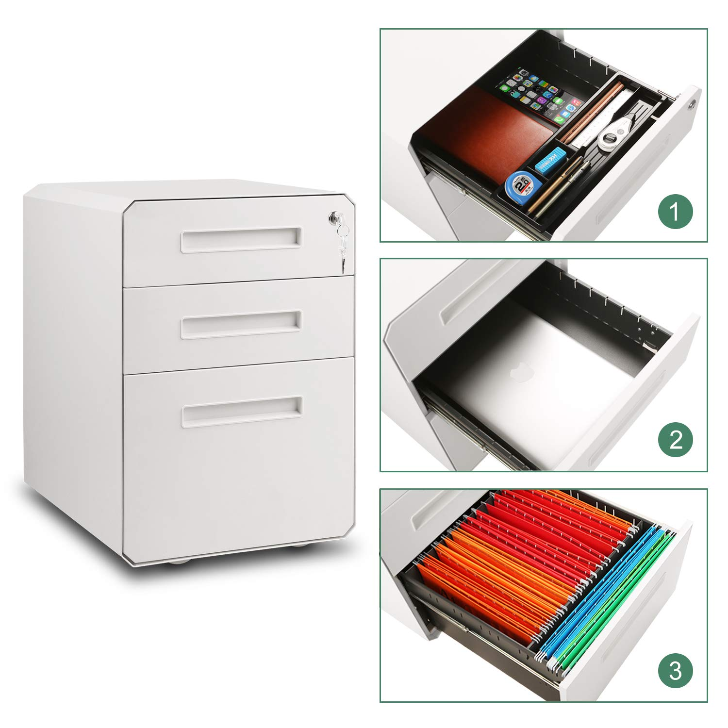 M&W 3 Drawer Mobile File Cabinet, Metal Locking Letter Filing Cabinet by M/W M & W (Image #3)