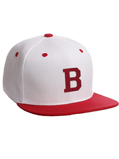 Classic Snapback Hat w Custom A-Z Initial Raised Letters - White Red Hat  White Red Initial 494b391e6ac6