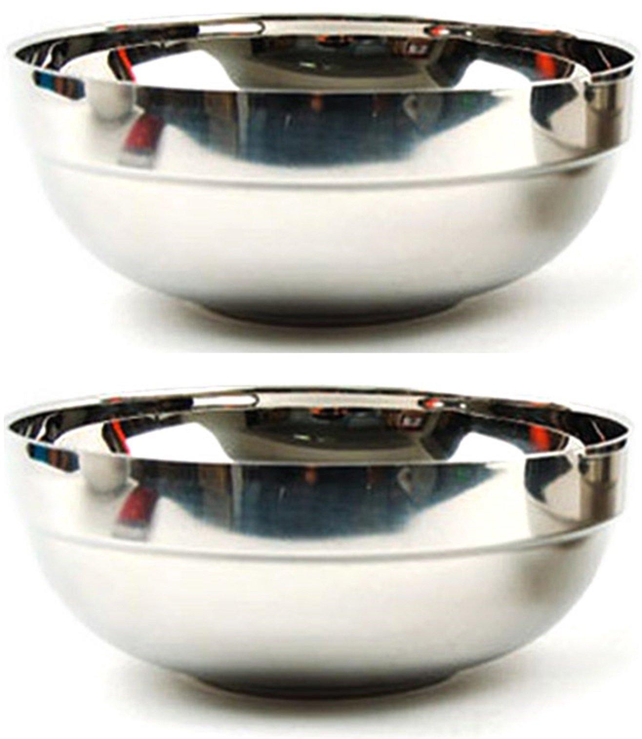 Vacuum Insulated Double Skin Large Size Stainless Steel Korean Traditional Naengmyeon Bibimbap Kalguksu Bowl 2 pcs 23 x 8.5cm / 9.1 x 3.4 inches