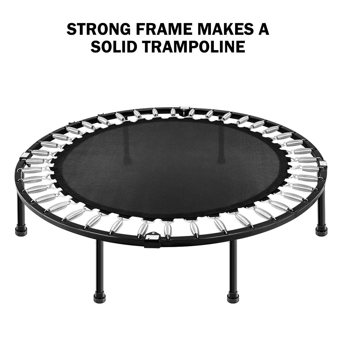 MOVTOTOP 48 40 Inch Indoor Trampoline, Folding Mini Trampoline with Adjustable Handrail and Safety Pad, Exercise Rebounder for Kids Adults-Black (40 Inch-Foldable) by MOVTOTOP (Image #4)