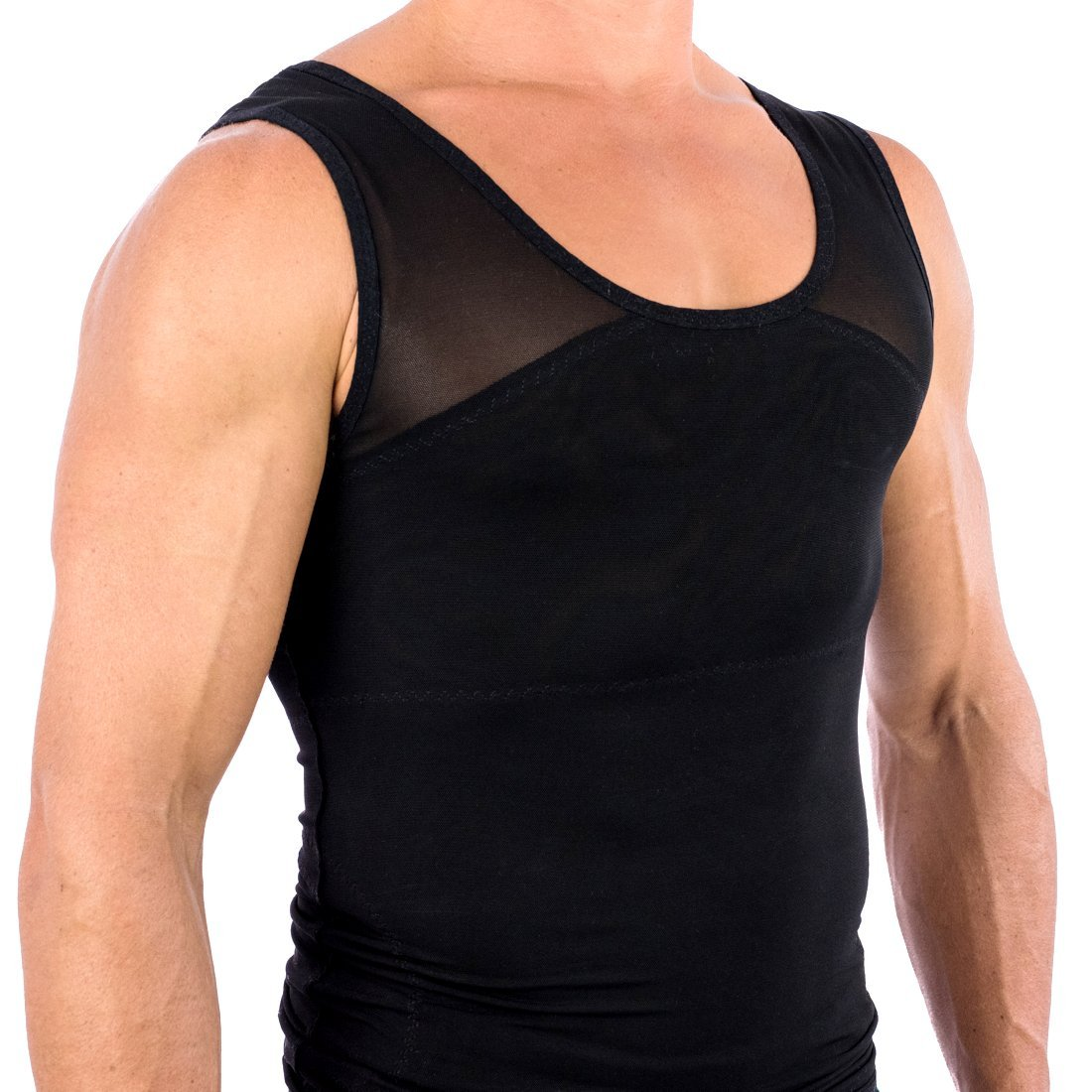 d70f093e02916 Does not lose its compression elasticity. Our men s tank top girdle binder  is designed to provide a slim looking chest underneath any ...