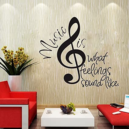 Ducklingup Big Music Note Music Is What Feelings Sound Like Quotes Wall Decals Vinyl Stickers Home Bedroom Motivational Inspirational Quotes Poster