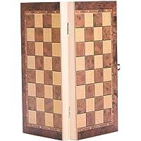 Vbestlife Juego de Tablero de ajedrez de Madera Juego, Juego de ajedrez de Viaje clásico 3 en 1 Tablero de ajedrez Plegable Juego de ajedrez para niños Adultos Fiesta Actividades Familiares