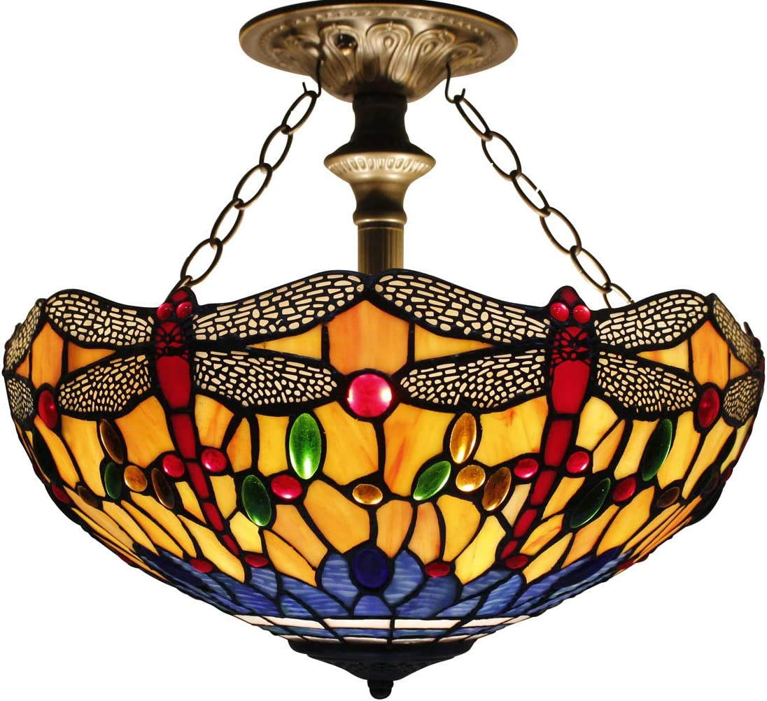 Tiffany Ceiling Fixture Lamp Semi Flush Mount 16 Inch Blue Orange Dragonfly Stained Glass Shade for Dinner Living Room Bedroom 2 Bulb Mount Light Mission Pendant Hanging S168 WERFACTORY