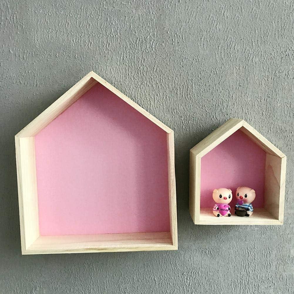 Mensole da Muro Scaffali Nordici Naturali di Stoccaggio della Scatola di Cubby Dellombra di Legno di Forma della Casa dei Bambini di 2 Pezzi su Misura