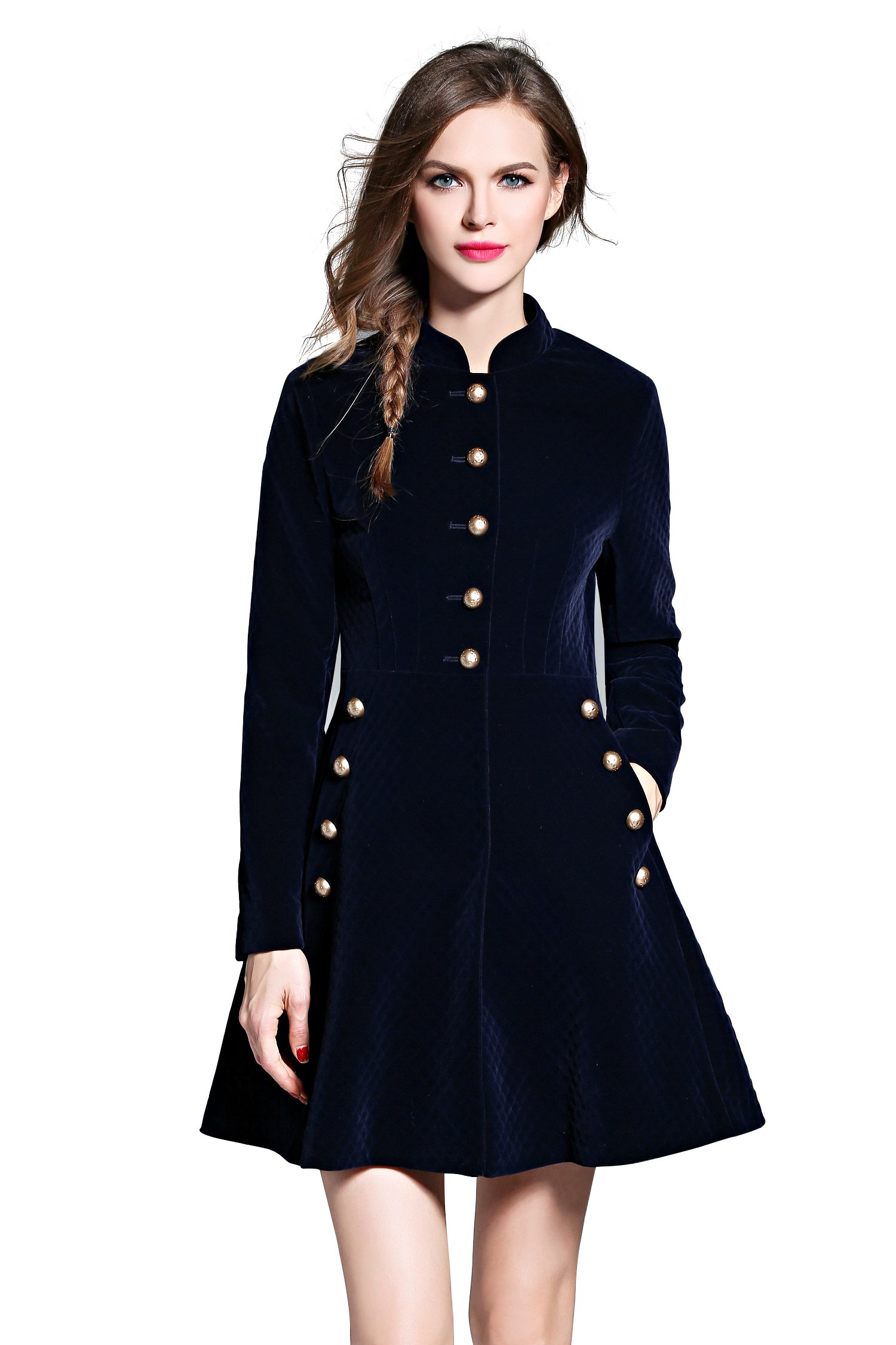 Women's Slim Button Front Coat Corduroy Swing A-line Party Evening Cocktail Dress, Navy M