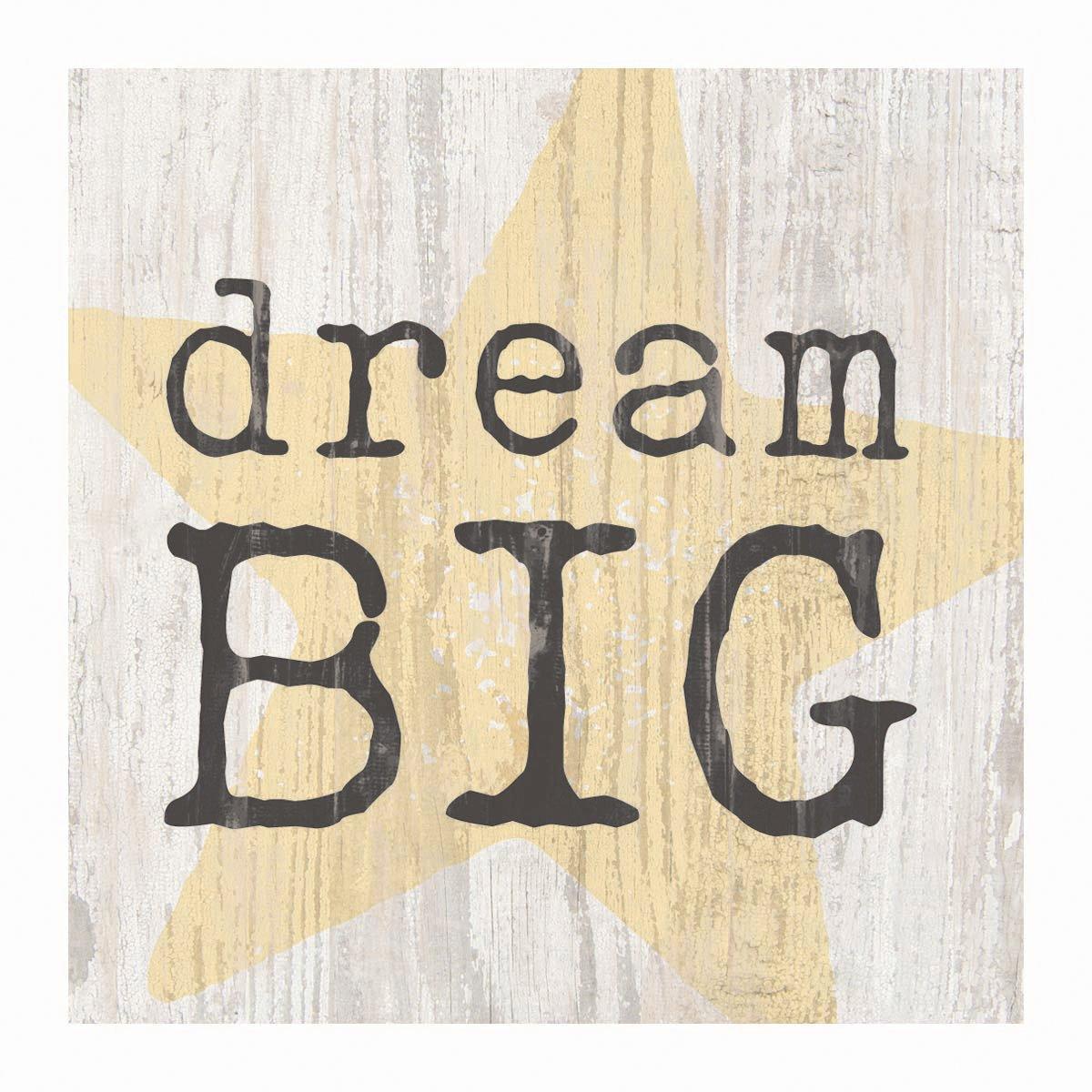 GRAHAM DUNN Dream Big Star Whitewash 3.5 x 3.5 Inch Pine Wood Tabletop Block Sign P
