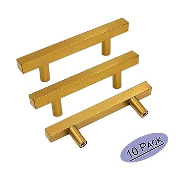 Brushed Brass Cabinet Knobs Drawer Pulls Furniture Hardware   Goldenwarm  LS1212GD76 T Bar Square Gold Kitchen
