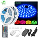 MINGER RGB LED Strip Light 2x5M(32.8ft Total) 300 LEDs SMD 5050 Waterproof Rope Lighting Kit with 44 IR Remote Control