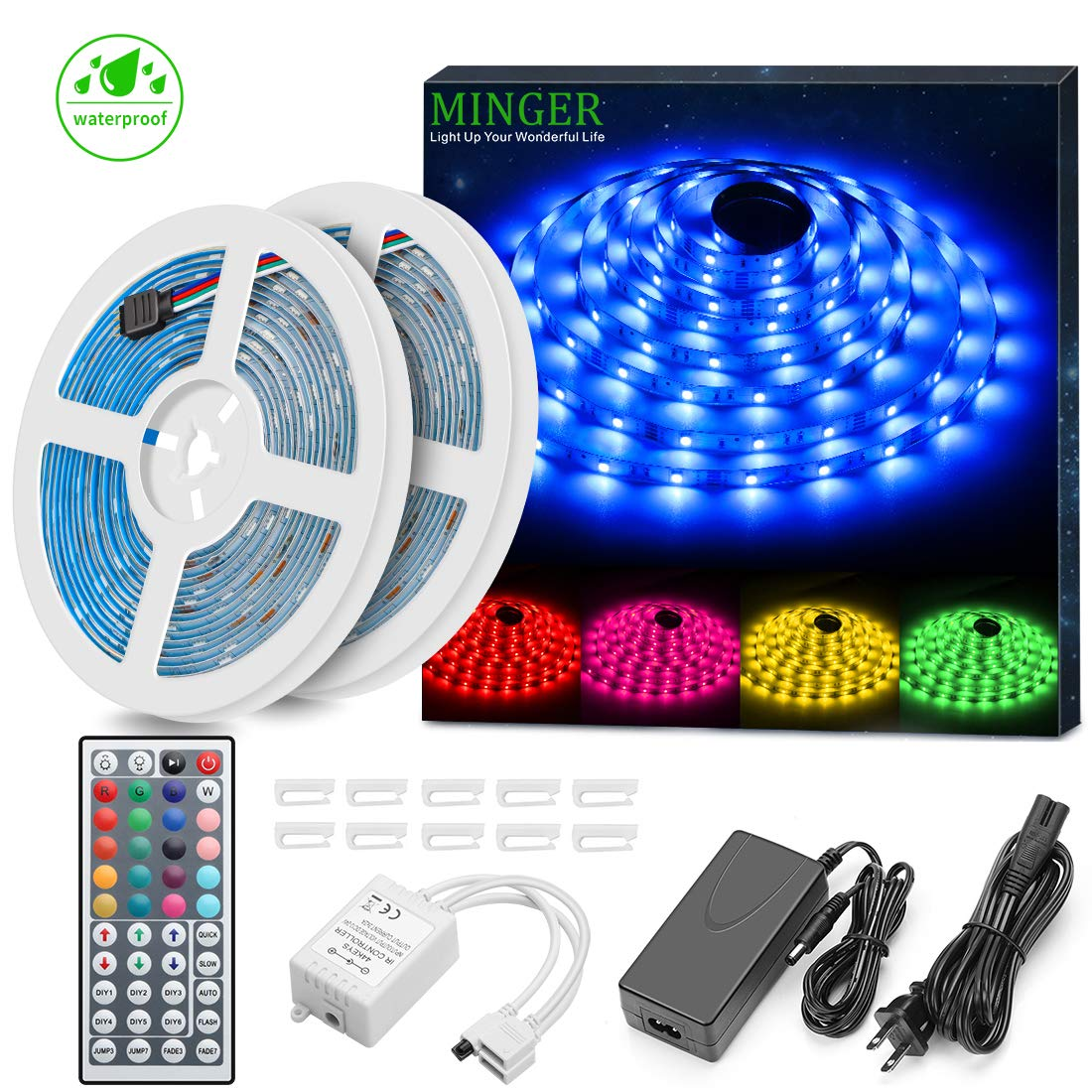 Minger LED Strip Lights Kit, Waterproof 32.8ft 5050 RGB 300led Strips Lighting Flexible Color Changing Rope Lights with 44 Key IR Remote Ideal for Room, Home, Kitchen, Party, DC 12V/3A UL Listed by MINGER