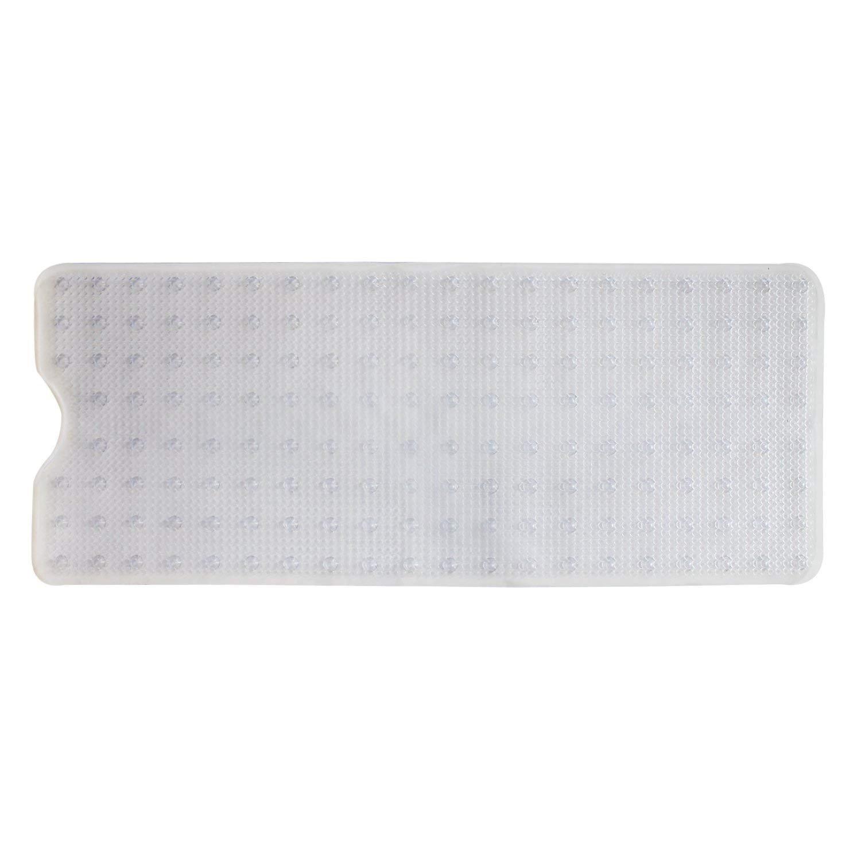 Extra Long Vinyl Slip-Resistant Non-Toxic (BPA-Free) Tub Shower Bath Mat Extra Long 40''X16'' (Clear)