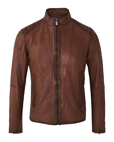 1b6684b7c MASSIMO DUTTI Men's Topstitched Nappa Leather Jacket 3330/176 Brown ...