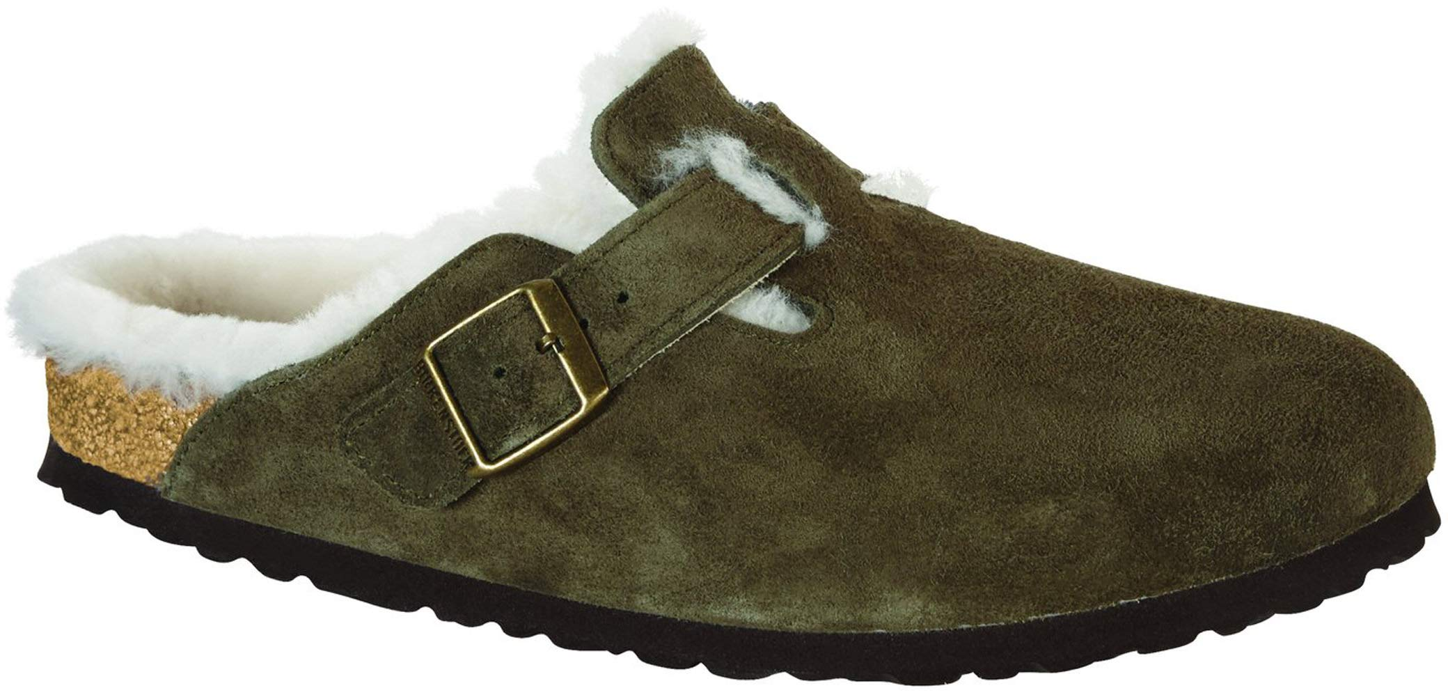 Birkenstock Women's Boston Shearling Clog Forest Natural Shearling Suede Size 41 N EU
