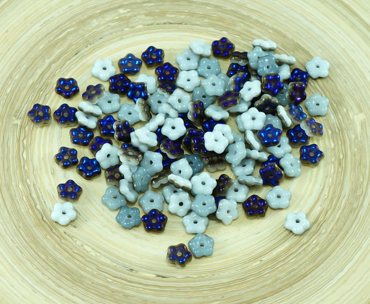 Opaque White Czech Glass Flat Flower Beads 12mm 12pcs