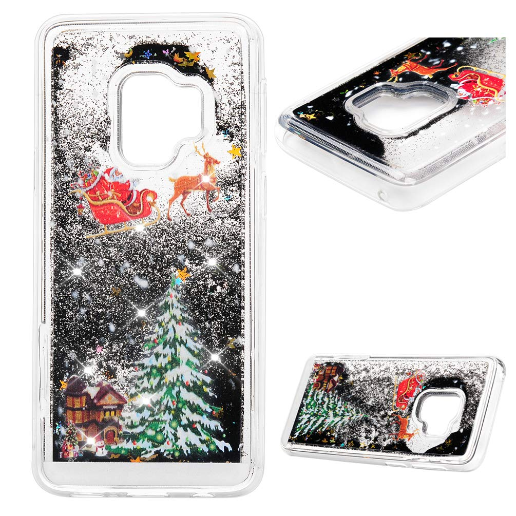 Galaxy S9 Case (Not Plus), MOLLYCOOCLE Liquid Fashion Creative Flowing Floating Christmas Black Star Bling Glitter Sparkle Diamond Soft TPU Bumper Slim Fit Cover Samsung Galaxy S9