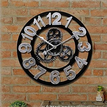MQHY Engranaje-3D Reloj de pared Relojes Retro Arte Madera Salón Creativa arte hecho a mano ...