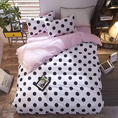 CoutureBridal Girls White Pink Bedding Set with Black Dots Twin Size Reversible Solid Color Baby Pink Duvet Cover Sets Soft Microfiber Comforter Qulit Covers with Zipper Closure for Teens: Home & Kitchen