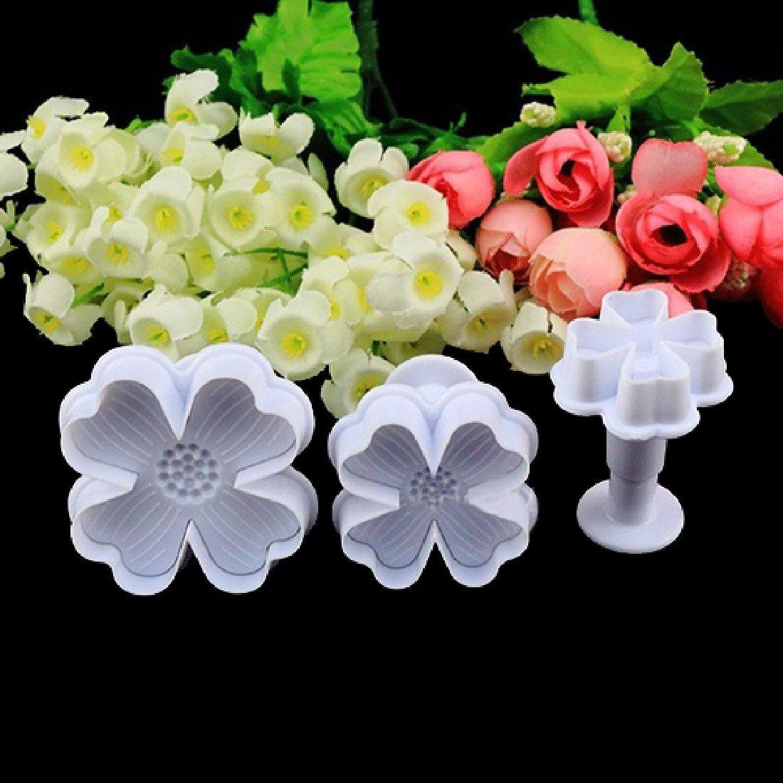 New 3pcs/set Flower Shape Cake Sugarcraft Plunger Decoration Diy Tool Mold Kitchen Accessories by Joylive (Image #4)