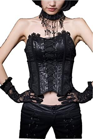 38e1b1b9028 Punk Women s Gothic Close Fitting Corset Bandage Low Cut Lolita Steampunk  Backless Strapless Tank Top at Amazon Women s Clothing store