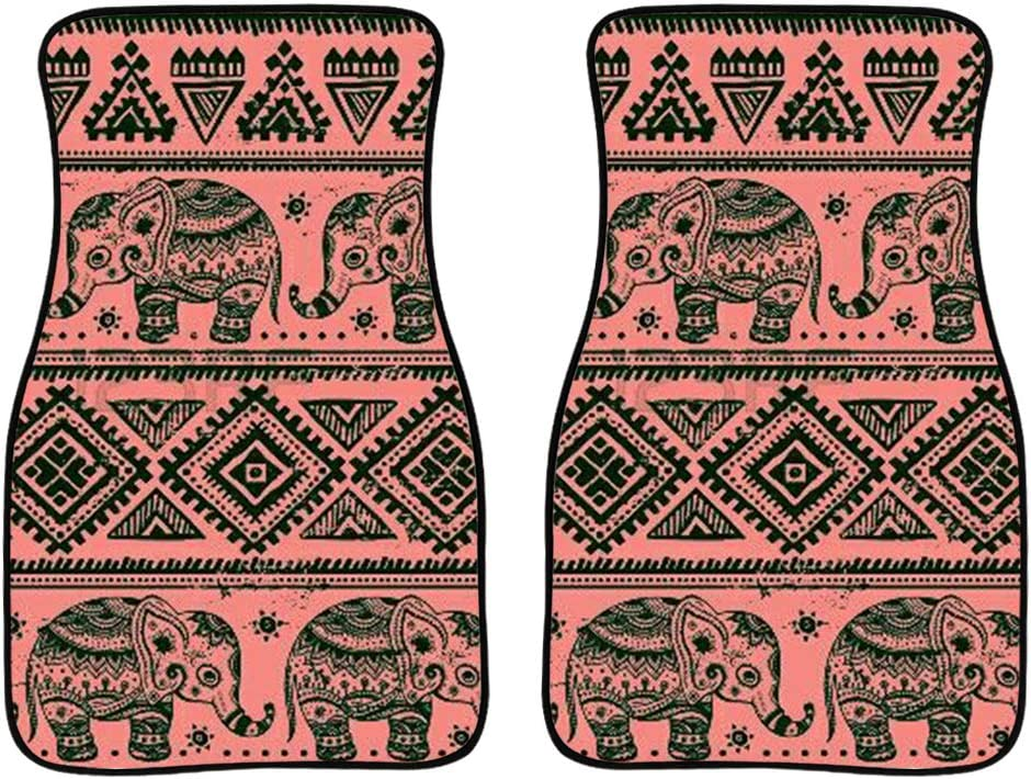 FUIBENG Stylish Car Floor Mats Non Slip Flannel Front Carpets Boho Ethnic Elephant Print Easy Clean Floor Mat
