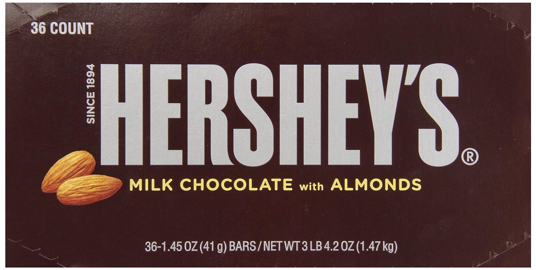 Amazon.com : HERSHEY'S Chocolate Bar with Almonds, Milk Chocolate ...