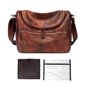 Amazon.com : PU Leather Baby Travel Mom Mummy Daddy ...