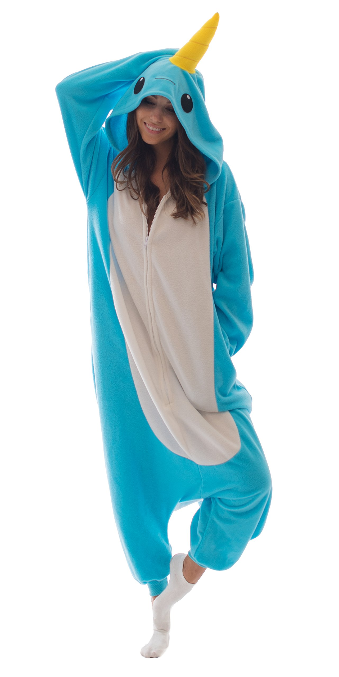 Adult Onesie Narwhal Animal Pajamas Comfortable Costume with Zipper (X-Large)