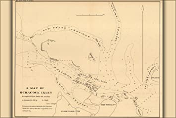 Amazon.com: 24x36 Poster; Map Of Ocracoke, Outer Banks ...