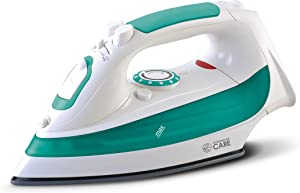 Commercial Care CCSI300 Steam Iron with 7.4 Ounce Water Tank, 1200 Watts, Comfort Grip, White with Green Accents