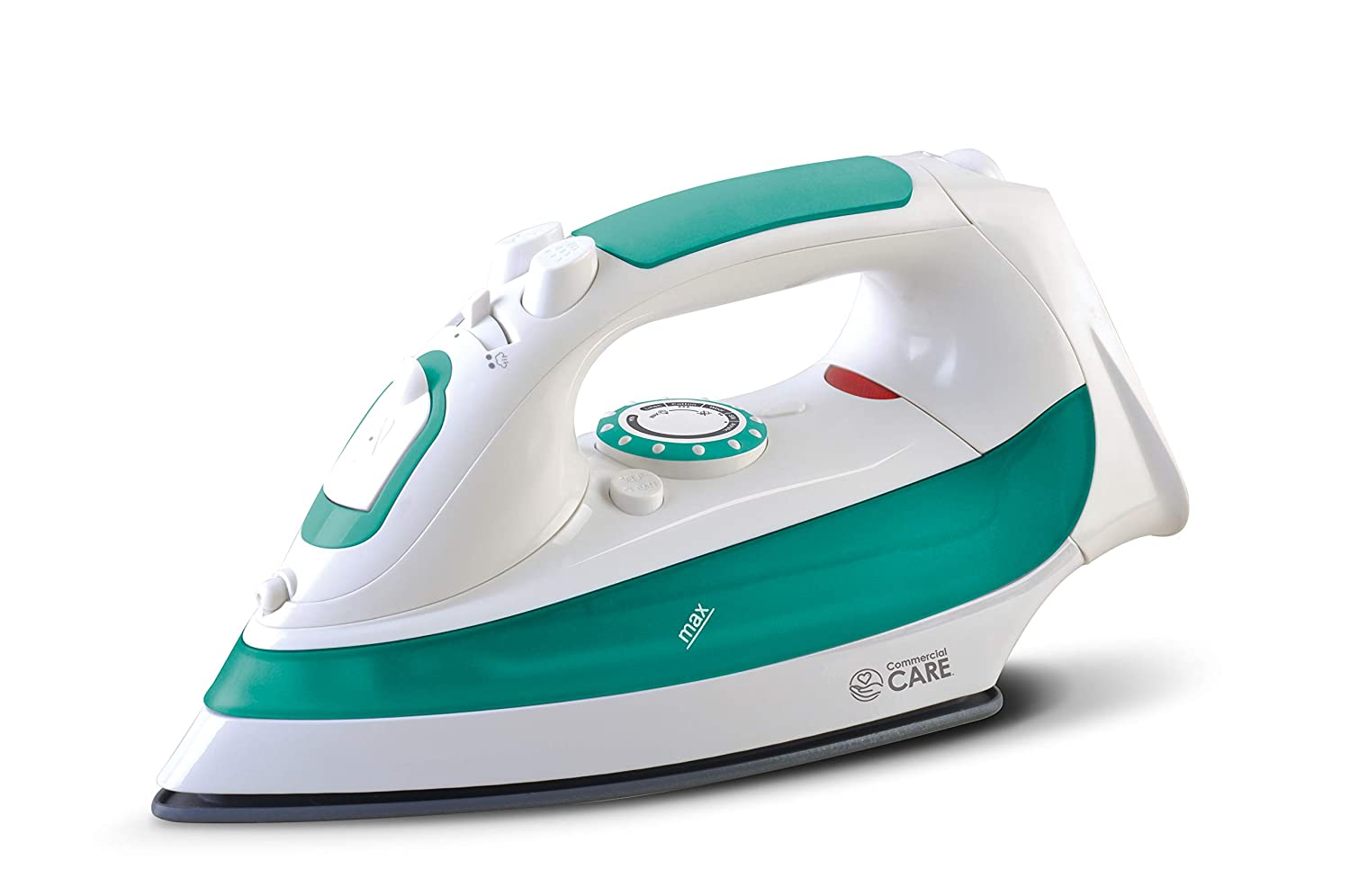 1200 Watts White with Green Accents Comfort Grip Commercial Care CCSI300 Steam Iron with 7.4 Ounce Water Tank