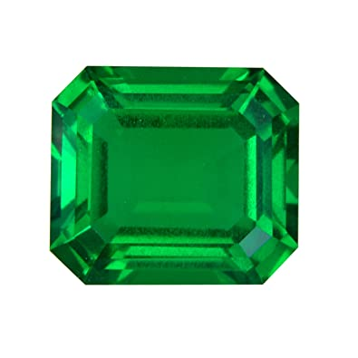 1 20-1 75 Cts of 8x6 mm AAA Emerald-Cut Russian Lab Created Emerald ( 1 pc  ) Loose Gemstone