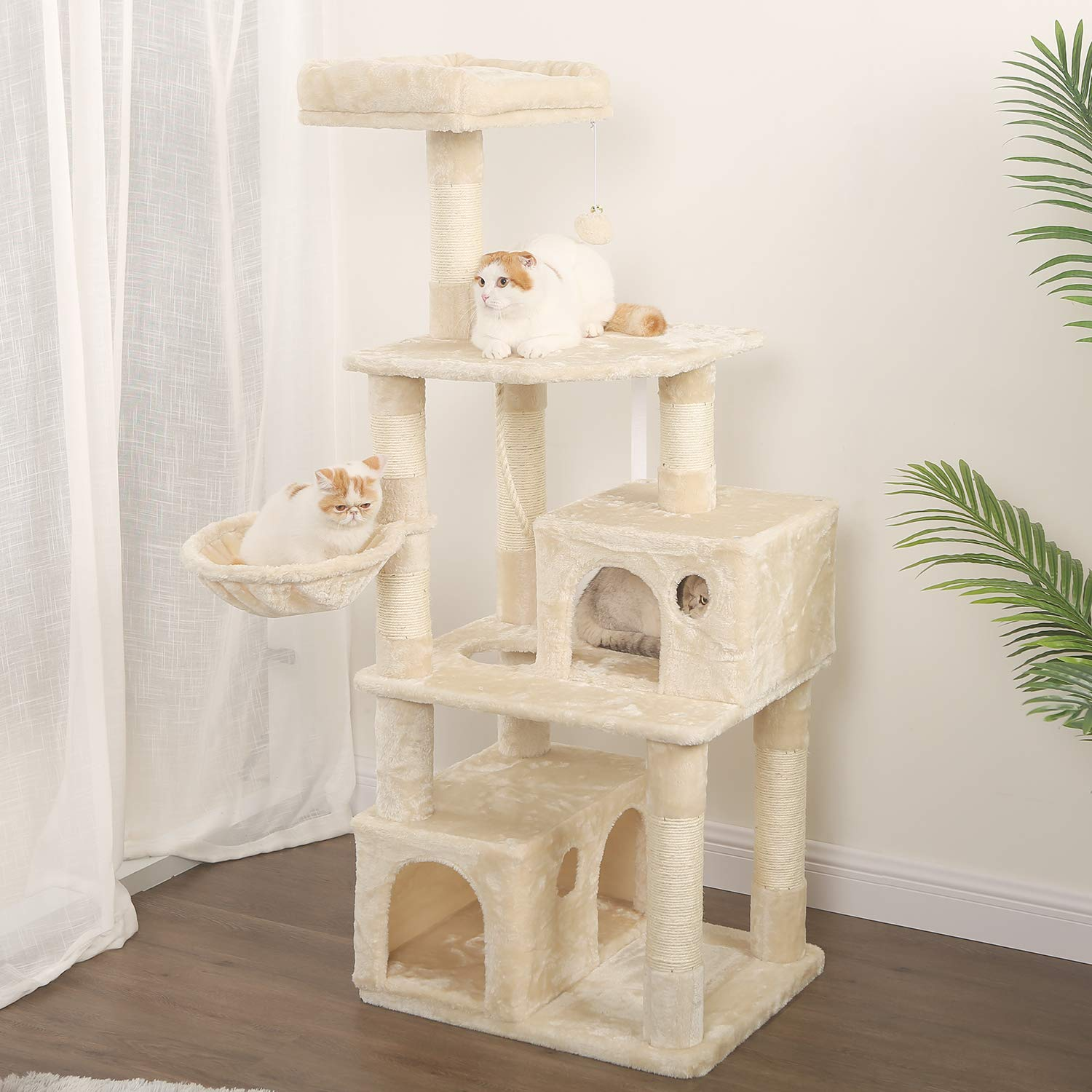 WLIVE 59'' Large Cat Tree Condo with Sisal Scratching Posts, 2 Plush Condos and Basket Lounger, Cat Tower Furniture WF062A by WLIVE (Image #7)