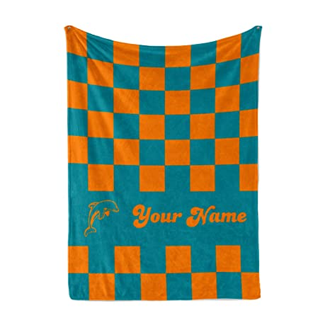 Personalized Corner Custom Miami Dolphins Themed Colors Fleece Throw Blanket  - Mens Womens Dolphin Apparel for 5069d6c2e