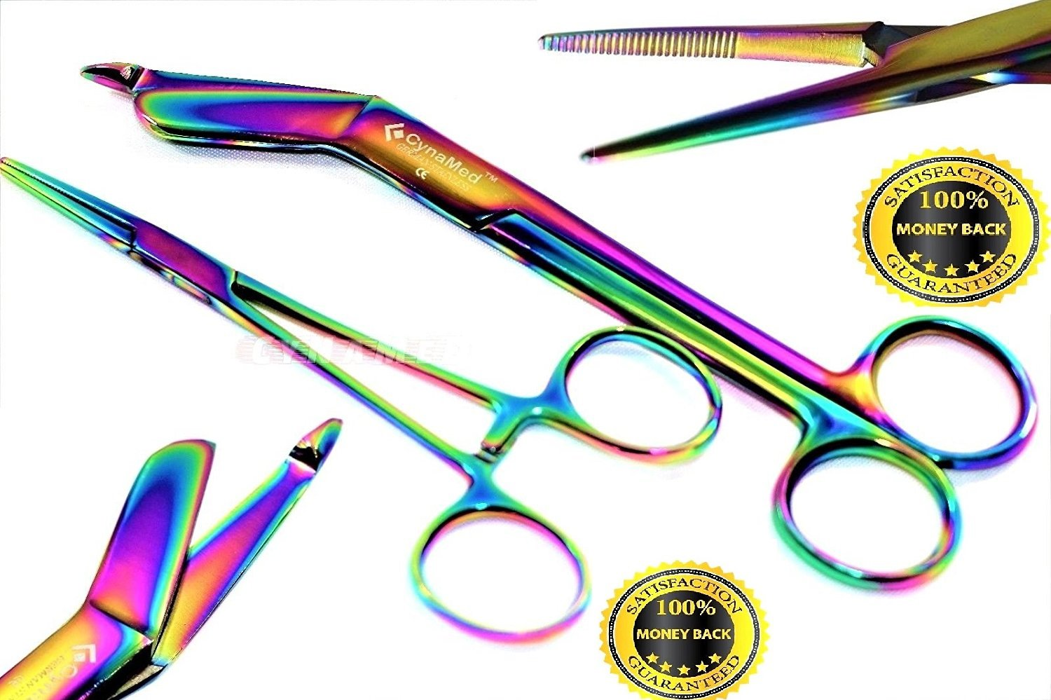 New Premium Lister Bandage Scissors 5.5 inches Plus Hemostat Forceps Straight Multi Color Rainbow Color Stainless Steel Set of 2 by CYNAMED